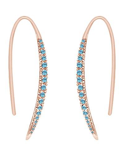 925Sterling Silber Runde Form simulierten Blau Aquamarin CZ Bar Hoop Ohrringe für Frauen und Mädchen (Ring, 18Karat Rose Gold über Sterling Silber) (Rose Marine-ring)
