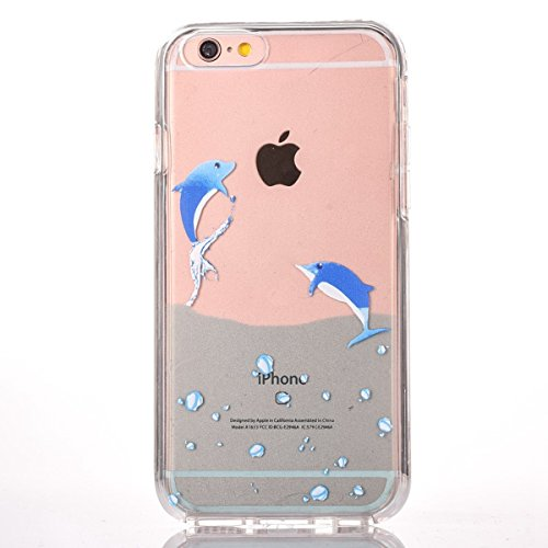 iPhone 6S Silicone Case,iPhone 6S Coque - Felfy Coque Souple Transparente TPU Silicone cadre et Plastic Back Case Premium Ultra-Light Ultra-Mince Skin de Protection Anti-Choc Bumper pour Apple iPhone  Les dauphins Nager