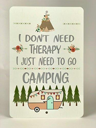 Monsety Zitat Metallschild Camping Therapie Camping Vintage Camper Aluminium Wand Hausdeko Schild für Auffahrt