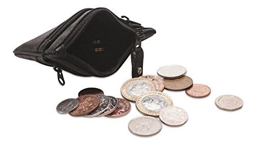 Astuccio / borsellino portamonete, contanti e chiavi in vera pelle morbida Visconti # CP3 Nero