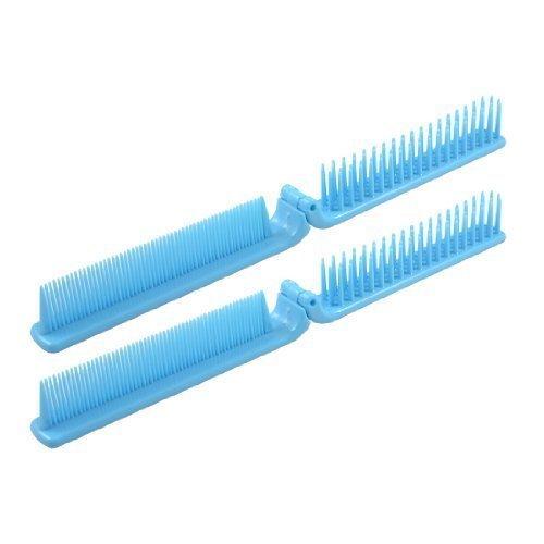 sourcingmap® Plastique Gros Dents Fines 2 Voies Pliable Coiffure Cheveux Peigne De Coiffure Bleu Ciel 2 Pcs