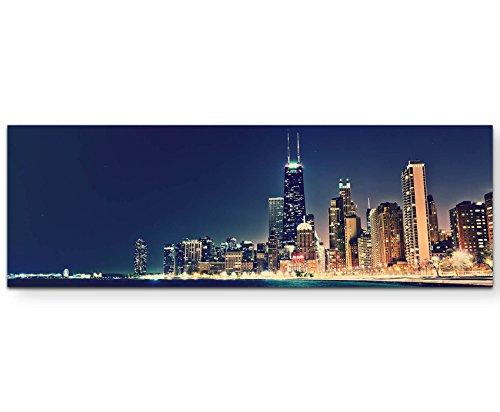 Paul Sinus Art Leinwandbilder | Bilder Leinwand 120x40cm Skyline Chicago