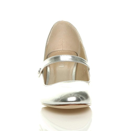 Donna media tacco mary jane lavoro festa elegante scarpe di moda taglia Argento metallizzato