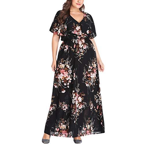 Ausschnitt Kleider Sommerkleider Maxikleider Blumenkleid Blumedrucken Strandkleid Rundhals High Waist Sommerkleid Elegant Vintage Cocktailkleid Kleider Groß Größe ()