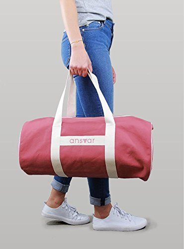 Sporttasche ansvar III aus Bio Baumwoll Canvas - Hochwertige Damen & Herren Sporttasche, Duffle Bag aus 100% nachhaltigen Materialien - mit GOTS & Fairtrade Zertifizierung, Farbe:altrosa - 2