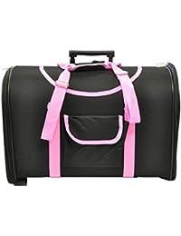Transportín con ruedas negro y rosa trolley (49 largo x 30 ancho x 36 cm alto)