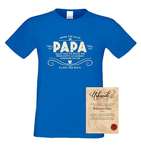 Herren kurzarm Motiv T-Shirt als Vatertagsgeschenk Geburtstagsgeschenk :-: Danke Papa :-: Geschenkidee für Männer Geburtstag Weihnachten Vatertag :-: Farbe: royal-blau Royal-Blau