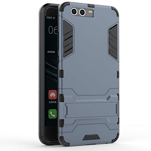 YHUISEN Huawei P10 Plus Case, 2 In 1 Eisen Rüstung Tough Style Hybrid Dual Layer Rüstung Defender PC + TPU Schutzhülle mit Stand Shockproof Case für Huawei P10 Plus ( Color : Red ) Blue Black