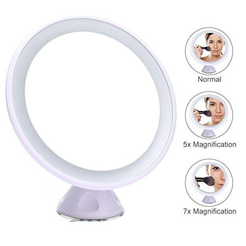 LED Beleuchtete Kosmetikspiegel 7X/5X Vergrößerung Eitelkeitsspiegel mit Leuchten Doppelseitiger...