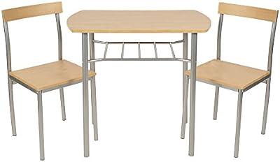 ts-ideen Juego de 3 piezas comedor mesa y sillas para la cocina marco de metal MDF plata y natural 76 x 82 cm