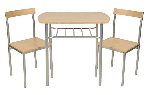 ts-ideen Set 3 pezzi Tavolo con 2 sedie in Alluminio e MDF ...