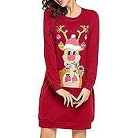 LILICAT☃ Vestido de Manga Larga con Estampado de Mangas largas y Estampado de Dibujos Animados Mono de Navidad para Mujer Vestido de Manga Larga para Damas Mini Vestido