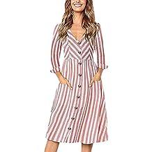 Vestido para Mujer ,BBestseller Mujer Bota Larga de algodón de Manga Larga a Rayas Suelta