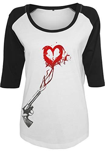 Mister Tee Damen Ladies Pistole Heart Raglan Tee T-Shirt, wht/Blk, XS