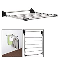 Taylor & Brown Indoor Wall Mounted Folding Stainless Steel Clothes Airer Drying Rack 6 Bars, 5m Drying Space