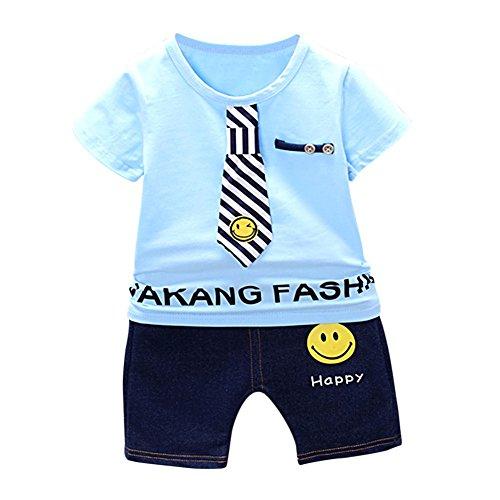 Baywell Kinder Baby Jungen Sommer Kleidung Set, gestreifte Krawatte Kurzarm Top Shorts Anzug Outfit 2 Stück (L/3 Jahre, Blau) (Stück Blau Anzug 3)