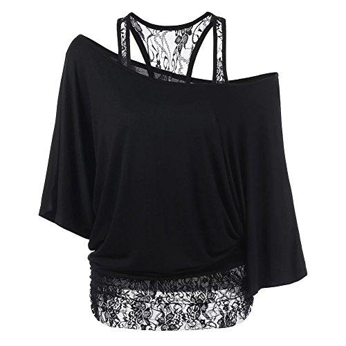 Uniquestyle Damen T-Shirt Große Größen Oberteile Baumwolle Frauen Lose Spitze Shirt Schwarz S