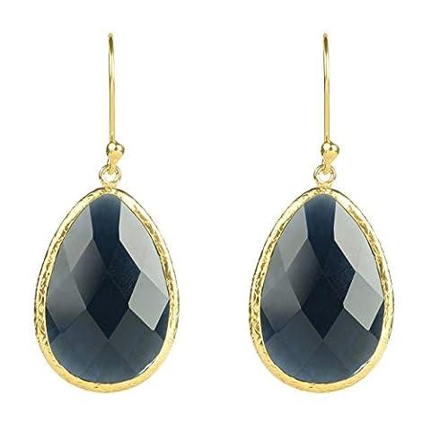 Gold Single Drop Earring Sapphire Hydro
