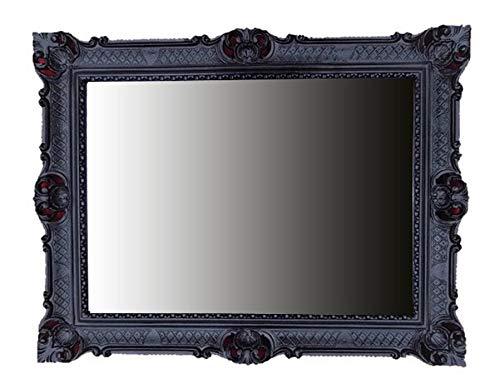 Lnxp WANDSPIEGEL BAROCKSPIEGEL Spiegel IN SCHWARZ 90x70 cm ANTIK BAROCK Rokoko Shabby CHIC Renaissance JUGENDSTIL Retro Design MIT ORNAMENTVERZIEHRUNGEN LUXURIÖS PRUNKVOLL