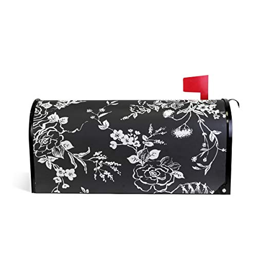 HEOEH Awesome Flower Black White Magnetic Briefkasten-Abdeckung Home Garden Decorations Oversized 63,5 x 5,8 cm 52.6x45.8cm Mehrfarbig