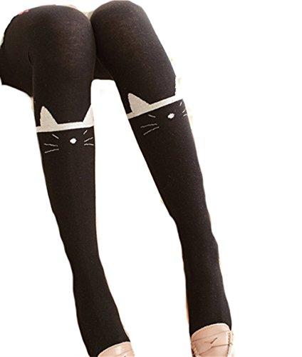 Swallowuk Damen Mädchen Niedlich Kniestrümpfe Katze Drucken Leggings Strumpfhosen (Schwarz) (Drucken Strumpfhose)