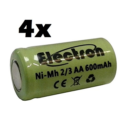 4x Batterie/Akku Ni-MH 2/3AA 2/3AA 1,2V 600mAh 14x 29mm Akkumulator für Lampen Pin Teller