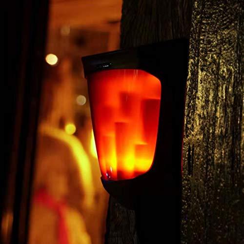 Veofoo Solar Kamin Laterne, Klassische Wanddekoration Solar Kamin Lampe Weiche Licht Flackern Realistisch Aussehende Flammen (1 Packung) -
