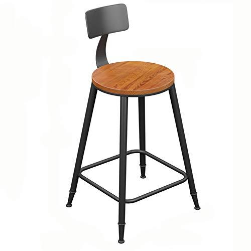 LJFYXZ Barhocker Modernes Schmiedeeisen Barhocker Runder Sitz aus massivem Holz Küchenstuhl Lagergewicht 200kg Sitzhöhe 45/60/68/73 cm (größe : 60cm)