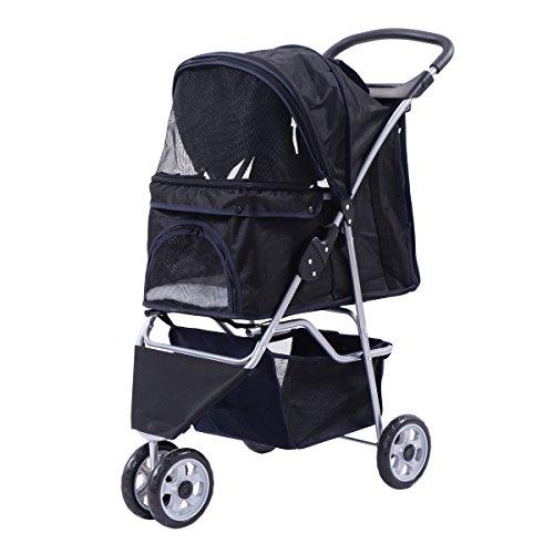 Hundewagen Hundebuggy Haustier Pet Stroller Buggy Roadster Sonnendach+Einkaufstasche in 5 Farben (schwarz)