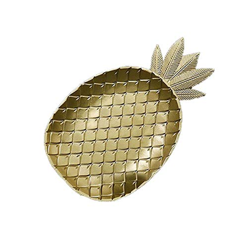 Tablett, hölzerne goldene Ananas Blattform Snack Obstschale aus Holz Aufbewahrungstablett, Crystal Ananas Geschenk Wein Saver, Hochzeitsdekoration ()