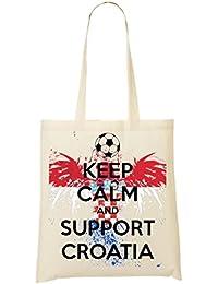 Keep Calm Support Croatia Bolso De Mano Bolsa De La Compra
