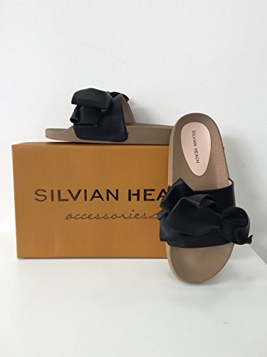 Sandalo silvian heach con fiocco 100% pu, nero, 36, silvian heach