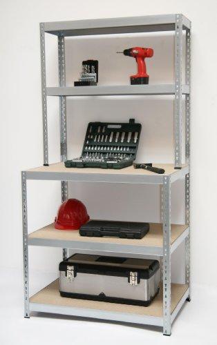 Werkbank-Regal Professional 180x100x60cm + 100x30cm, 175 kg/Boden, verzinkt Metall / Stahl - Stahl Werkbank