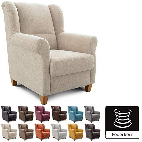 Cavadore Sessel Finja mit Federkern / Ohrensessel im modernen Landhausstil / passender Hocker separat erhältlich / 87 x 102 x 96 / Webstoff Creme