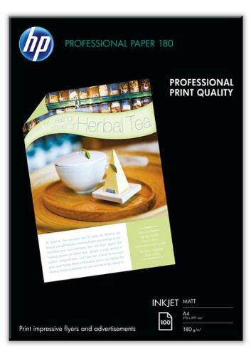 HP  Professional Inkjet-Papier matt (beidseitig beschichtet) 180g/m2 A4 100 Blatt, weiß (Inkjet-foto-papier, 100)