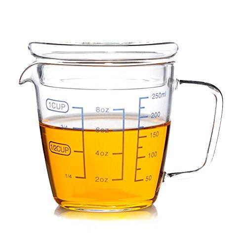 Advogue Resistente al calor Jarra graduada con una tapa,Kitchen Lab Vaso Medidor...