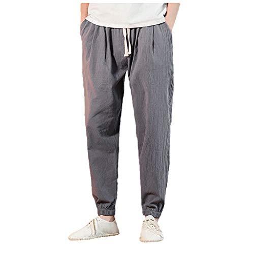 Herren Freizeithose Strandhosen Chino Hose Dünne Leicht Pyjamahosen Casual Jogginghose Sweat-Pants Sporthose Hose aus Baumwolle und Leinen Big Star Bootcut Jeans