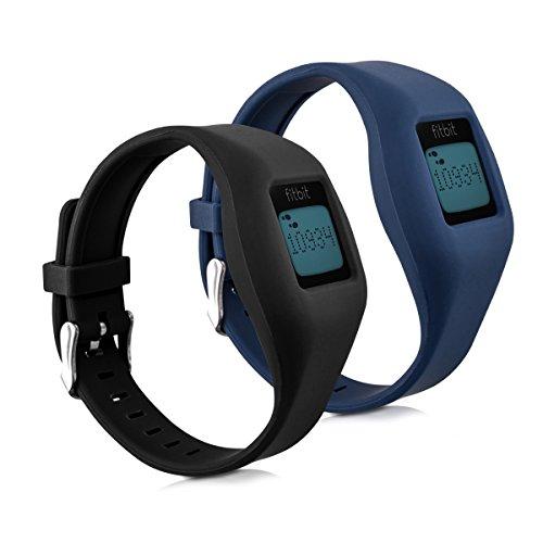 kwmobile 2X Pulsera para Fitbit Zip - Brazalete de [Silicona] [Negro Azul Oscuro] sin Fitness Tracker