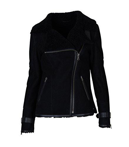 Damen TIGHA Lederjacke Luana mit Lammfell schwarz - black black M