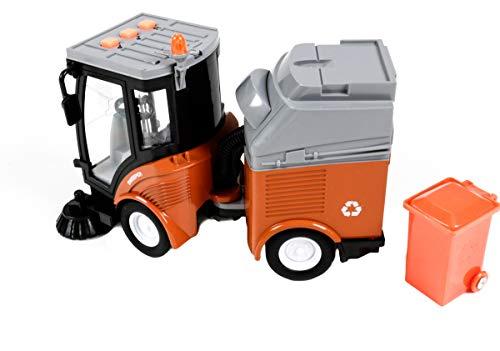 Gear Box Spielzeug Kehrmaschine mit Anhänger, Friktionsantrieb, Licht- und Tonfunktion, mit Mülltonne, Länge ca. 20 cm