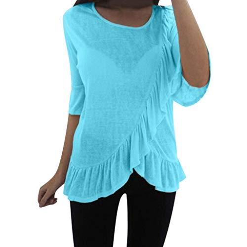 Yvelands Damen Arbeiten T-Shirt Sommer beiläufige einfache mittlere Hülsen-Oansatz Feste nähende Bluse(Blau,M)