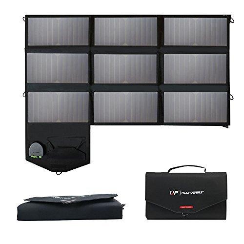 ALLPOWERS 60W Faltbar Solar Ladegerät SunPower Solarpanel 12V Outdoor Ladegerät Faltbare Dual 5V USB 18V DC für Laptop, Tablet, iPhone, iPad, Smartphone, Samsung