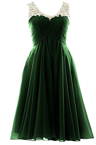 MACloth Gorgeous V Neck Short Prom Homecoming Dress Wedding Party Formal Gown Dark Green