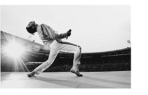 Quadro Freddie Mercury Queen Wembley 1986 - Stampa su Tela Canvas HD - Pronto da Appendere - Bianco e Nero - 70x45 cm - Musica - Made in Italy