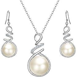 Conjunto de Collar y Pendientes en Espiral de plata de ley