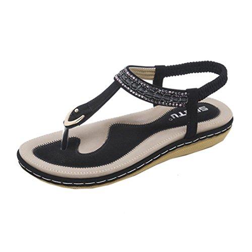 Sandales Été, YUYOUG Tong Entredoights en Cuir Talon Plates Compensées Enfiler Chaussures de Ville Été Soldes - Noir Beige