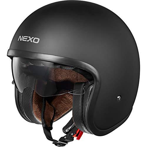 Nexo Motorradhelm Jethelm Urban Style, Sonnenblende, Ratschenverschluss, komplett herausnehm- und waschbare Wangenpolster, Gewicht: 1.050 g (+/- 50 g), Prüfung: ECE 22/05, matt schwarz, L