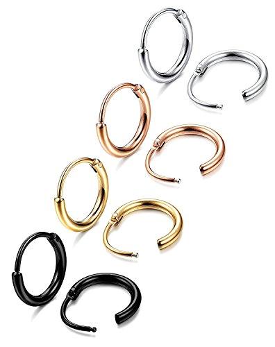 Jstyle Gioielli in Acciaio Inossidabile Orecchini a Cerchio da Uomo Donna 4 Paia con Colori Argento Dorato e Nero Oro Rosa