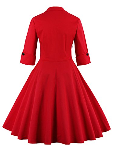 Eudolah Robe courte Vintage patineuse de soirée avec manches style années 50 Femme Rouge Noeud