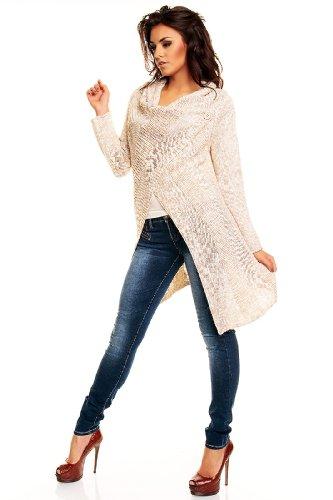 Nueva Eva mode pour femmes cardigan veste tricotée avec 1-knopf-verschluss longue, plusieurs couleurs Beige